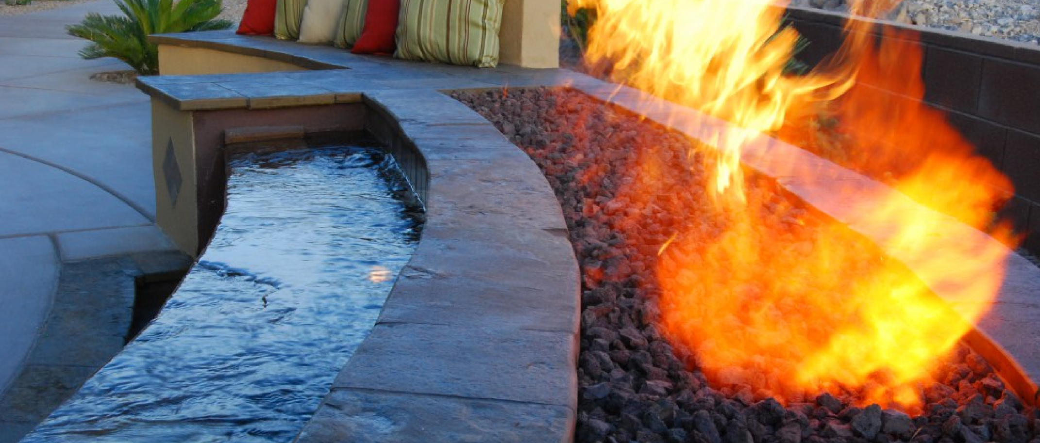 Fire features las vegas pool design pool contractor for Fire and water features
